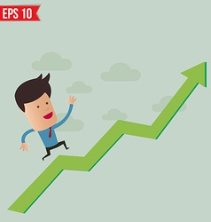 Business man run over the graph - - eps10 vector