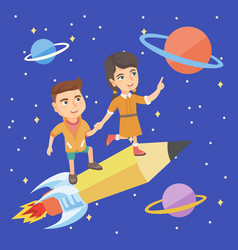 children riding a pencil shaped as a space shuttle vector image