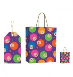 clown bag and tag set vector image