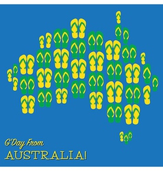 Australian map made of thongs flip flops in format vector