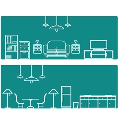 Interior banner set with furniture vector