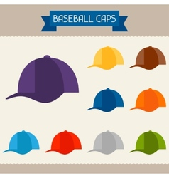 Baseball caps colored templates for your design in vector