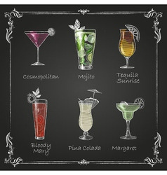 Chalk drawings cocktail menu vector