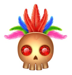Golden skull icon with gems and feathers vector
