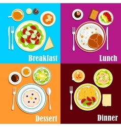 European breakfast dinner and lunch vector