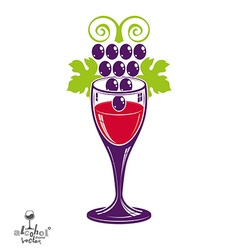 Winery theme stylized wineglass with grapes vector