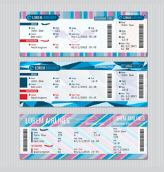 Airline boarding pass tickets template vector