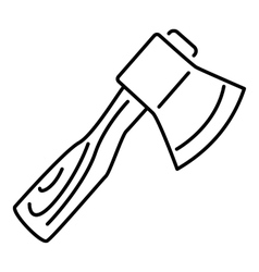 Axe with wooden handle icon outline style vector