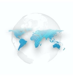 Blue color background with world map shadow vector