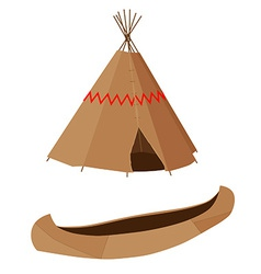 Brown canoe and wigwam vector image vector image