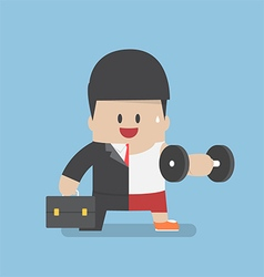 Businessman between work mode and exercise vector
