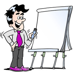 Cartoon of a happy business man standing and vector