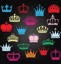 Chalkboard crown silhouetteprincess crown vector