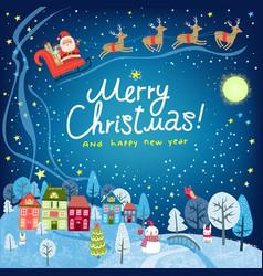 Christmas card landscape with santa vector