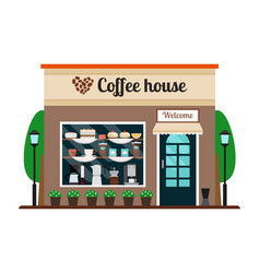 coffee house store front vector image vector image