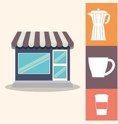 Coffee shop poster paper cup maker equipment vector