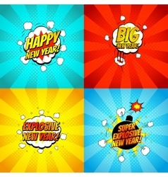 Collection of comic happy new year banners vector