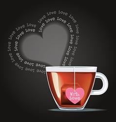 cup of tea with tea bag vector image vector image