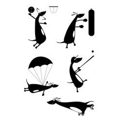 Dachshund fun silhouette vector