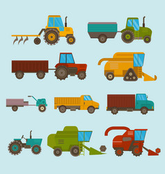 Different types agricultural vehicles and vector