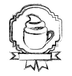 emblem cooffe cream cup with ribbon vector image vector image