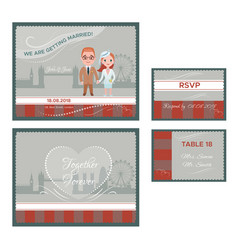 English wedding invitations cards set vector