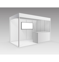 Exhibition booth for presentation counter screen vector