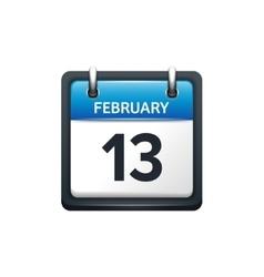 February 13 calendar icon vector