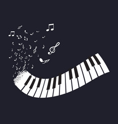 Flat abstract piano keyboard with notes on black vector