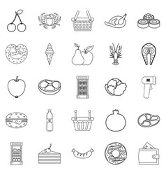 grocery shop icons set outline style vector image vector image