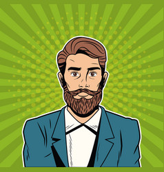 Hispter male pop art cartoon vector
