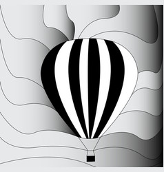 Hot air balloon black and white vector