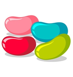 Jelly beans in four colors vector