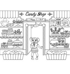 kids coloring girl in candy shop vector image vector image