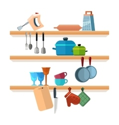 Kitchen shelves with cooking tools and hanging vector