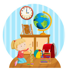 little girl plays blocks in room vector image