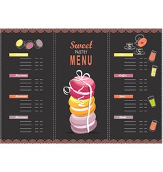 menu design template dessert vector image