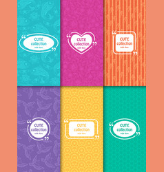 set of cute bright seamless patterns with frames vector image vector image