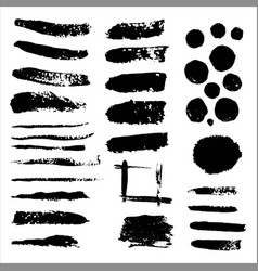 set of grunge black paint ink brush vector image vector image