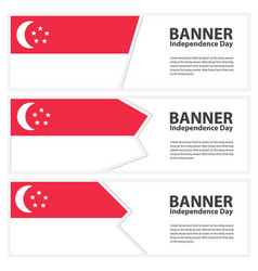 Singapore flag banners collection independence day vector