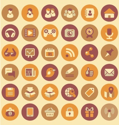 Social Networking Round Icons Set vector image