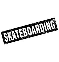 Square grunge black skateboarding stamp vector