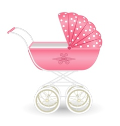 Sweet pink pram isolated on white vector image vector image