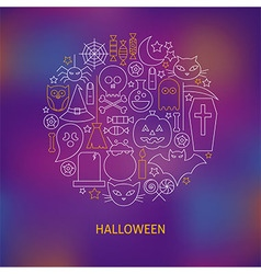 Thin line halloween holiday icons set circle vector