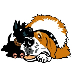 two cartoon dogs vector image vector image