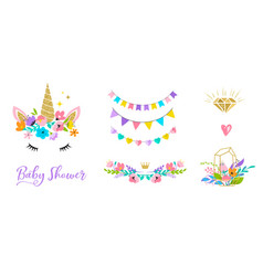 Unicorn head with flowers - card and shirt design vector