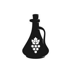 Vinegar bottle black silhouette with grape berries vector image