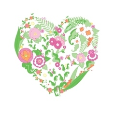 Wedding colorful flower heart vector image