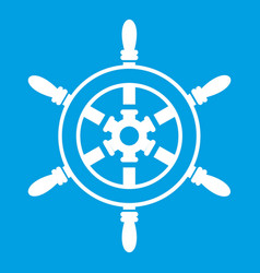wheel of ship icon white vector image vector image