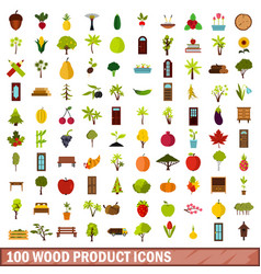 100 wood product icons set flat style vector image